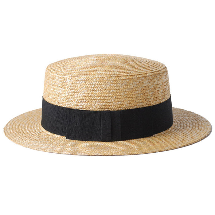 100% Wheat Straw Summer Women Boater Beach Sun hat For Elegant Lady Queen Ribbon Round Flat Top Homburg Fedora Hat Good Package