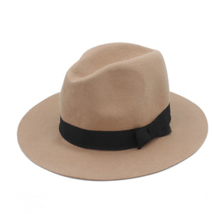 100% Wo Wide Brim Floppy Felt Trilby Bowknot Fedora Hat For Elegant Womem  Ladies Winter eb34c4c9c128