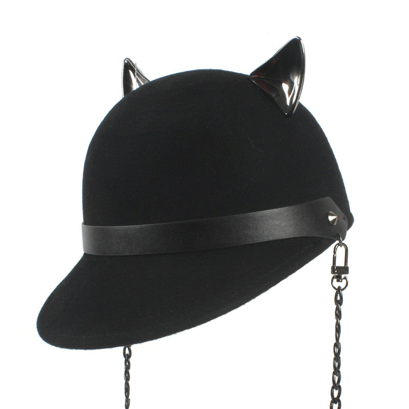 100% Wo Women Black Fedora Hat With Chain Devil Horns Cute Cat Ear Animal Derby Bowler Baseball Visor Cap 55-57CM