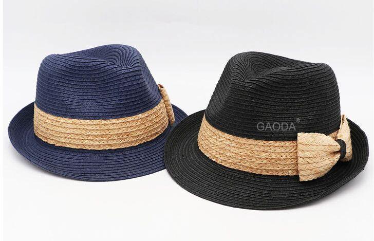 10pcs/lot 01805-GAODAGD summer bowknot Handmade patchwork two straw paper fedoras hat men women  Outdoor leisure cap