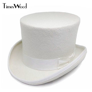 13.5cm Height White Wo Top Hats Mens Women Chapeau Fedora Magician Felt Party Church Caps Fedoras Vintage Apka Dropshipping