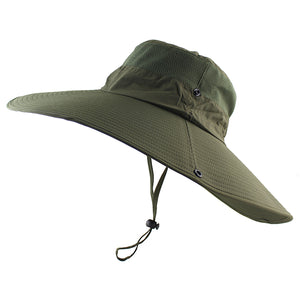 344d33d5065 14cm large Brim Sun Hat for men women Summer Beach Bucket Hat Fishing  Hiking Outdoor Sports UV Protective Boonie Camouflage