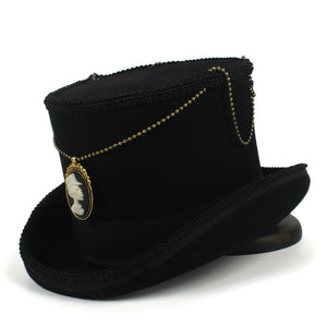 15CM Black Top Hat Wo Women Men Steampunk Fedora Hat With Handmade Magic  Cosplay Party Cylinder 6187547a60c