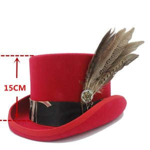 2d07262a0837fd 15CM Top Women Red Steampunk Top Hat With Handmade Leather Men Wo Fedoras  Hat / Cylinder