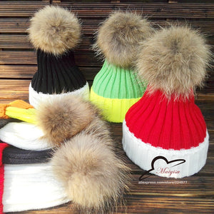 18f56611ac8 15cm real fur pom pom ball Winter Brand Colorful Snow Caps Wo Knitted  Beanie Hat Fur