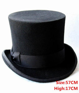 17cm(6.67inch) Black 100% Wo Women Men Top Hat Chapeau Fedora Hat Felt Vintage Trational Party Church Hats DIY Steampunk Hat