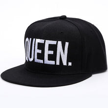 Load image into Gallery viewer, 1PC KING QUEEN Embroidered Snapback Caps Lover Men Women Baseball Cap Black Hip Hop Cap Snapback hats,chapeau bone masculino