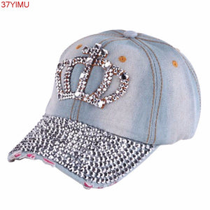 1PC New Women Hip Hop Fashion Caps Casual Rhinestone Stud Bling Crown Baseball  Cap Hat Gifts 5987251b4dd2