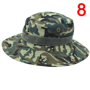 1Pc Men Women Military Panama Safari Boonie Camouflage Bucket Hat With  String Sun Hats Cap Fisherman d43a575c5ec