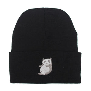 1pc hat Panda Knitting boy girl Cap Beanie Hip-Hop Warm Wo cheap female casquette solid Skullies