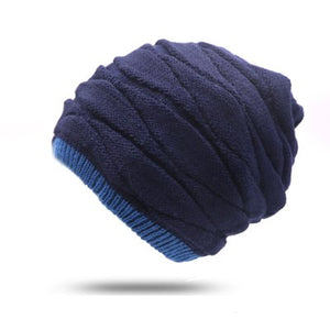 1pcs  Men's Winter Hat Fashion Baggy Knitted Hat Solid Color Thick And Warm Caps Bonnet Skullies Beanie Gorras Masculina