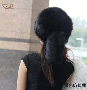 2015 Autu And Winter New Pattern Imitate Fox Mao Jiahou Keep Warm Leather And Fur Tail Flat Roof Hats