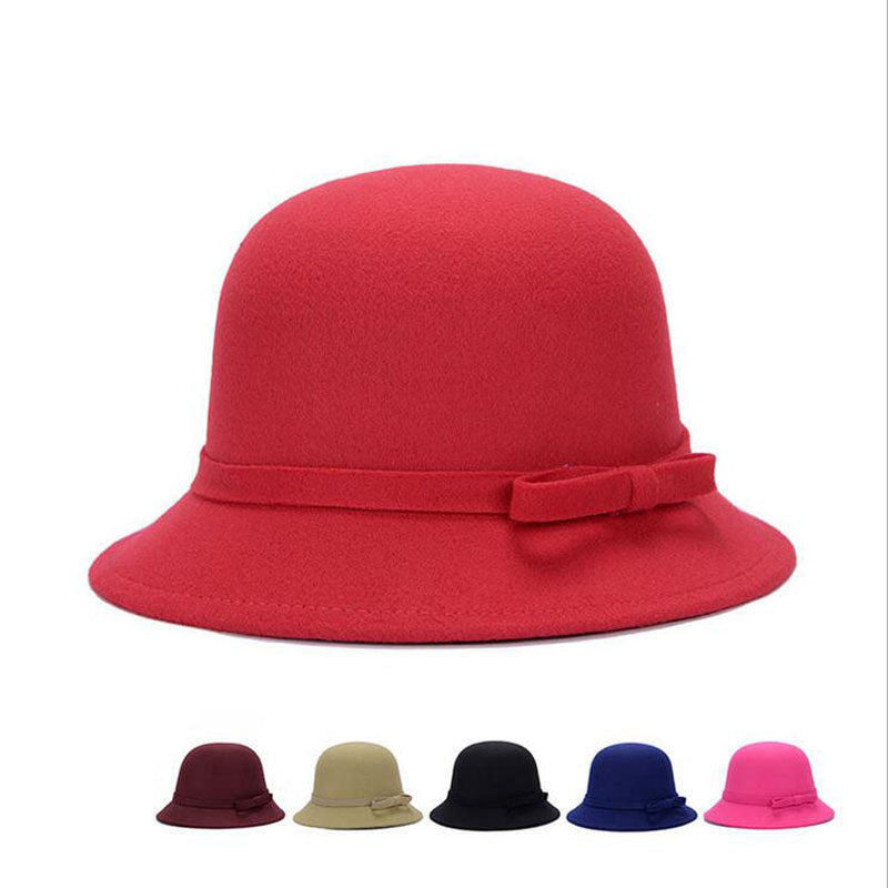 e38e3671527 2015 Vogue Ladies Women Girls Vintage Wo Felt Bowler Derby Fedora Trilby  Bowknot Fedoras Hat Cap For Woman