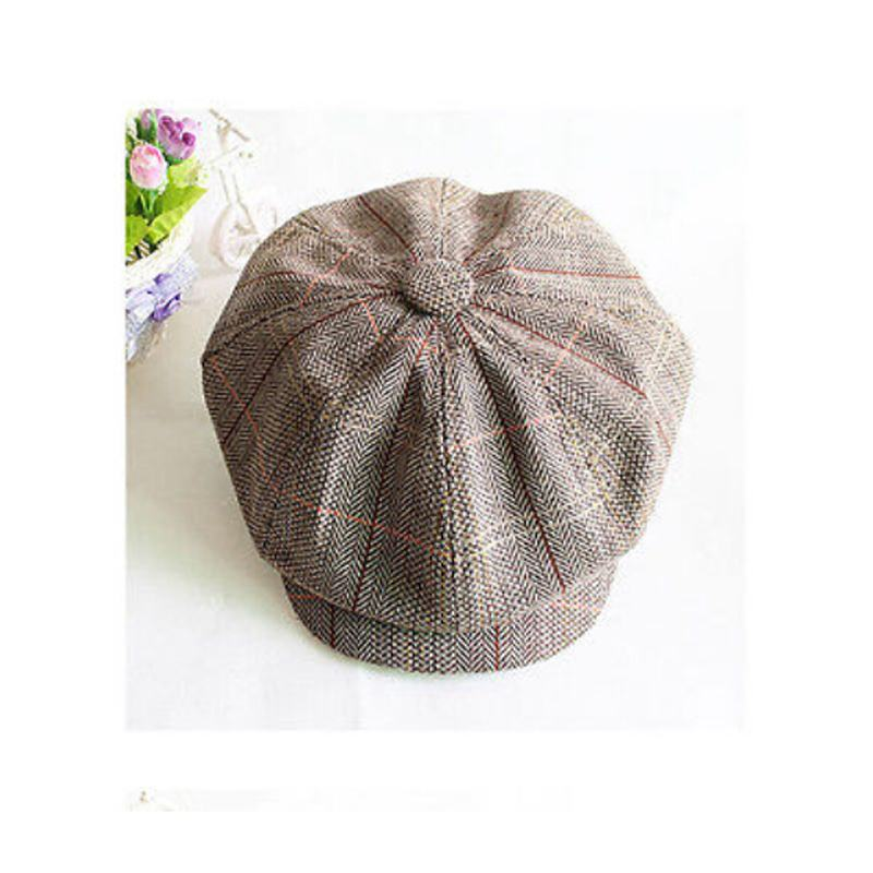2016 Khaki Fashion Wo Tweed Cabbie Newsboy Gatsby Cap Mens Ivy Hat Driving Flat Hottest