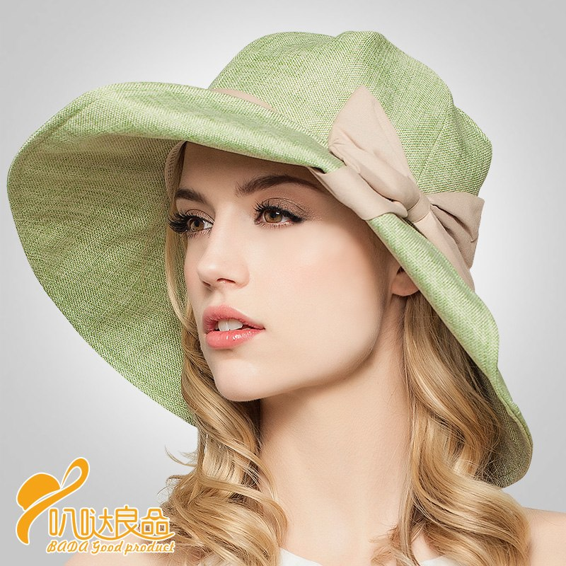 2016 New Style Base Half Curling with Bow Cotton Hat Lady Summer ... a0cf7186c96