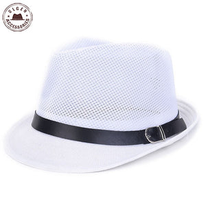2016 New Summer men's straw fedora hat gentlemen white fedoras black Jazz hats straw panama mesh caps men