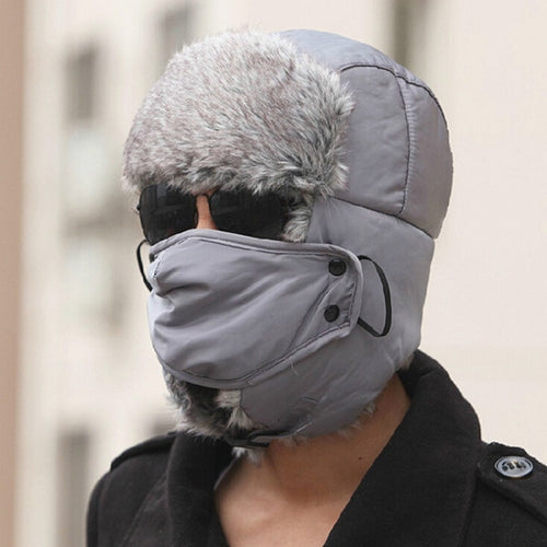 2016 Rushed New Men Faux Fur Ears Trapper Hat With Mask For Sale Co Winte Warm Bomber hat for Man Aviator caps
