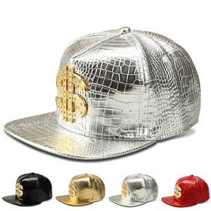 2016 Vogue Dollar Logo Crocodile hip hop rap PU Leather Hats Gold Rhinestone Street DJ Money Baseball Caps men women casquette