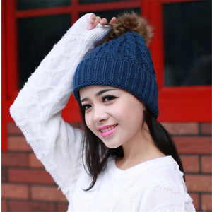 c21aa4b7354 2016 Winter Hat Fur Ball Knitted Warm Hats For Women Skullies Beanies Fur  Pom Poms Pretty