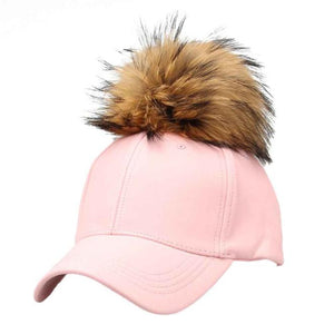 2017 Fashion Design Women's Hat PU Leather Pom Pom Cap Leather Hat With Fur Ball Female Visor Baseball Cap Women Pom Pom De302