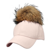 Load image into Gallery viewer, 2017 Fashion Design Women's Hat PU Leather Pom Pom Cap Leather Hat With Fur Ball Female Visor Baseball Cap Women Pom Pom De302