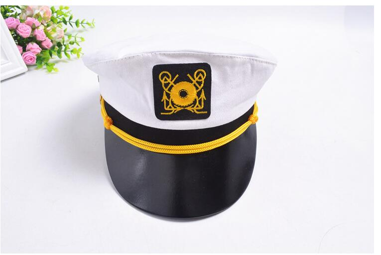 2017 Men and Women Spot Wholesale Children Flat Navy Cap ADULT WHITE Pirate Captain Seaman PU Navy Cap Militray Hats