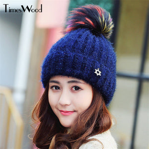 2017 New Arrival Pretty Winter Lovely Style Cot Ball PomPoms Knitted Hat For Women Skullies Ladies Beanies Caps With Pom Pom