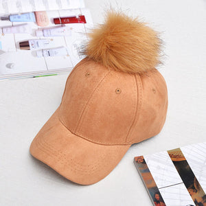 2017 New Fashion Women Faux Buckskin Ball Suede Cap Adjustable Baseball Hats Solid Hip Hop Winter Autumn Warm Caps Women's Hat