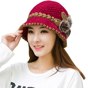 2017 New Fashion Women Lady Winter Warm Casual Caps Female Beautiful Wo Crochet Knitted Flowers Decorated Ears Hats Beanies