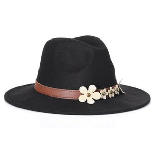 2017 New Fashion Women's Black Pearls Fedora Hat For Lady Wo Wide Brim Jazz Church Cap Vintage Panama Sun Top Hat