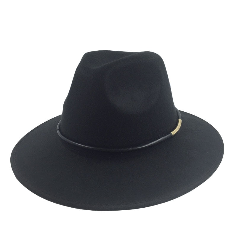 2017 New Vintage Fashion Unisex Men Women bad shape Fedora Hat Derby Trilby Black Felt Jazz hats with PU leanther string