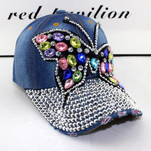 Load image into Gallery viewer, 2017 fall Baseball Cap Women Full Crystal Colorful Big Butterfly Hat Denim Bling Rhinestone Snapback Caps Casquette Summer hats
