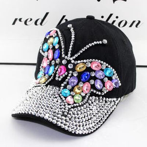 2017 fall Baseball Cap Women Full Crystal Colorful Big Butterfly Hat Denim Bling Rhinestone Snapback Caps Casquette Summer hats
