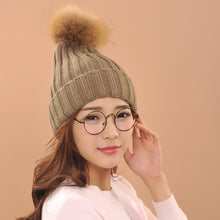 Load image into Gallery viewer, 2017 fashion hats Spring Winter Lady's Hats Beanies Knitted Cap fox Fur Pompons Ear Protect Casual Cap beauty with comfortable