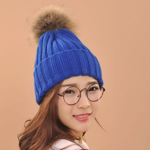2017 fashion hats Spring Winter Lady's Hats Beanies Knitted Cap fox Fur Pompons Ear Protect Casual Cap beauty with comfortable
