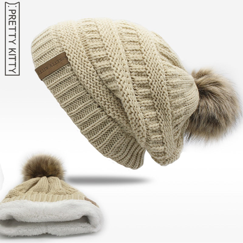 2017 hot Double layer fur ball cap pom poms winter hat for women girls hat  knitted beanies cap thick female cap 5c2b68794