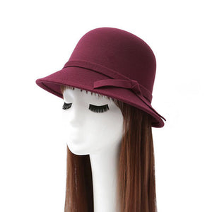 2017 new 6 colours women hat bowknot wo Fedoras cap Basin of dome woolen cloth hat female cloth Basin cap free shipping
