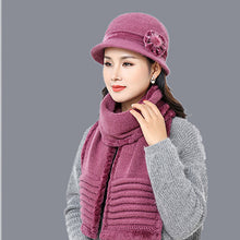 Load image into Gallery viewer, 2017 new Balaclava rabbit fur Fedoras scarf cap neck warmer Winter Hats For women skullies 100%wo warm Fleece mom cap