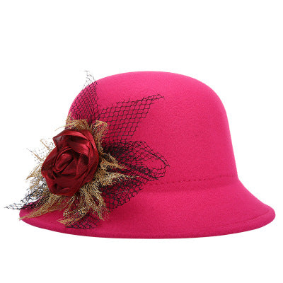 2017 new fashion Brands Women Lady Flowers Fedoras Top Hat autu winter Bowler Hats lace wo Cap super warm Flowers Elegant