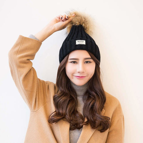 70fa5b1c5f9 2018 Autu And Winter Scorpion True Hair Ball Hat Female Warm Knitted  Sweater Cap women s hats