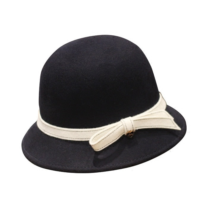 2020 Autu Winter Black Gray Women Pure Wo Dome Bucket Hat British Fashion Brand Vogue Wo Bow Ladies Church Fedora Hats
