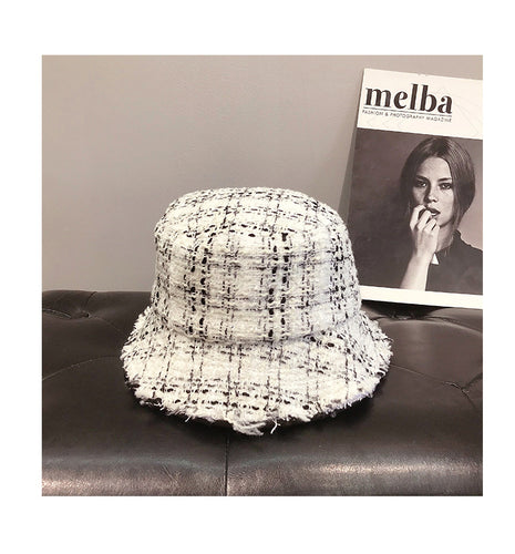 2020 Autumn Winter Runway look Women Bucket Hat Chic Black and White Plaid Caps Fisherman Panama High Quality Tweed Hats