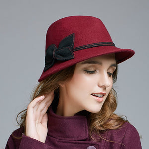 4a05838eaad 2018 Autu and Winter British Vintage Women Hat Wo Hats Casual Fedoras Red  D565