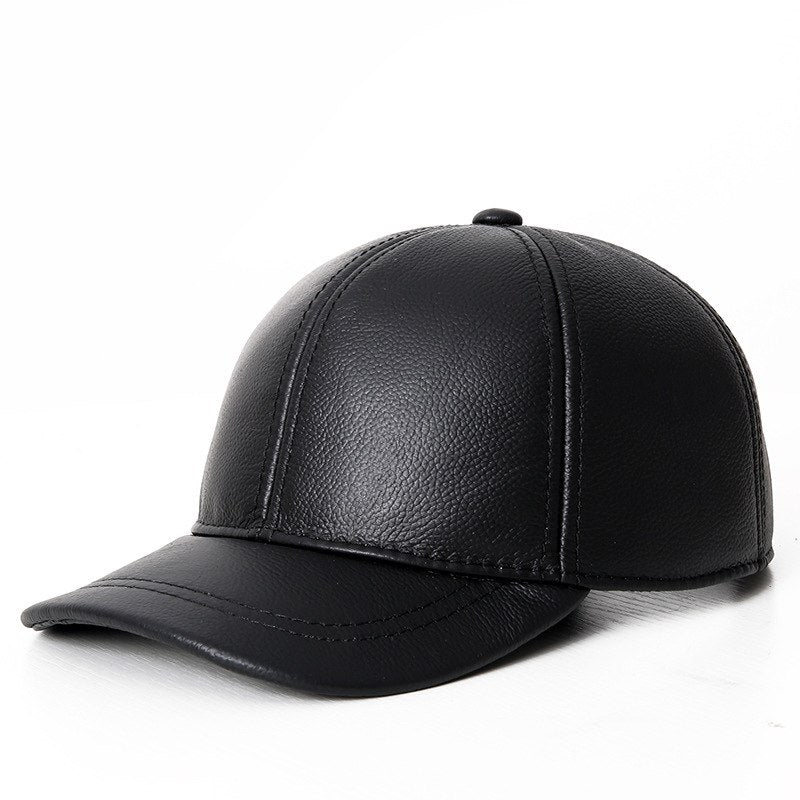 2020 Black Brown Earflap Winter Men Hat Autu Plain Genuine Leather Visor Cap Adult Unisex Cowskin Baseball Hat Cap Male Hats