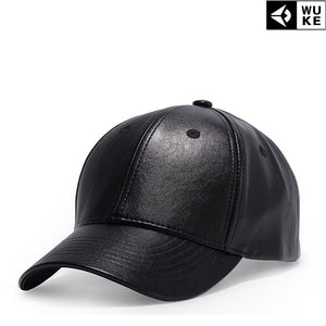 2020 Black Leather Cap Solid Color Baseball Snapback Caps Casquette Hats Fitted Casual Gorras Hip Hop Dad Hats Man