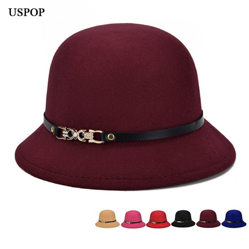 2018 Brand Fashion Spring Women Wo Metal Bowknot Fedoras Hats Round Top Leather Belt Fedoras Hats Female Casual Warm Hats