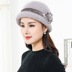 2018 Cashmere Pompom Women Winter scarf Hats Set Caps Stripe Knitted Hat Female Fashion Lady Middle-Aged Cap Thick Beanie