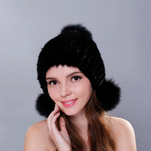 2018 Cheap Real Mink Fur Hat For Women Warm Knitted Mink Fur Beanies Cap Mink Fur Pom Poms New Thick Girls Cap Hat