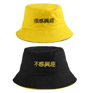 f92d5f03 2018 Cotton Double sided black yellow embroidery Bucket Hat Fisherman Hat  outdoor travel hat Sun Cap Hats for Men and Women 184