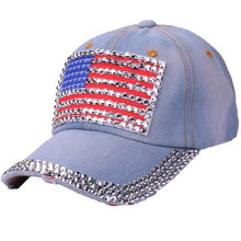Load image into Gallery viewer, 2020 Cowboy Hip-Hop Baseball Cap Full Diamond Flat Snapback Unisex Girls American flag pattern Baseball Caps Adjustable